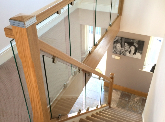 Oak Handrail Baserail Newel Post Glass Balustrade Section Glazing